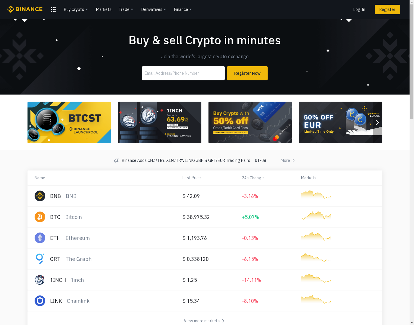 Binance user interface: the home page in English