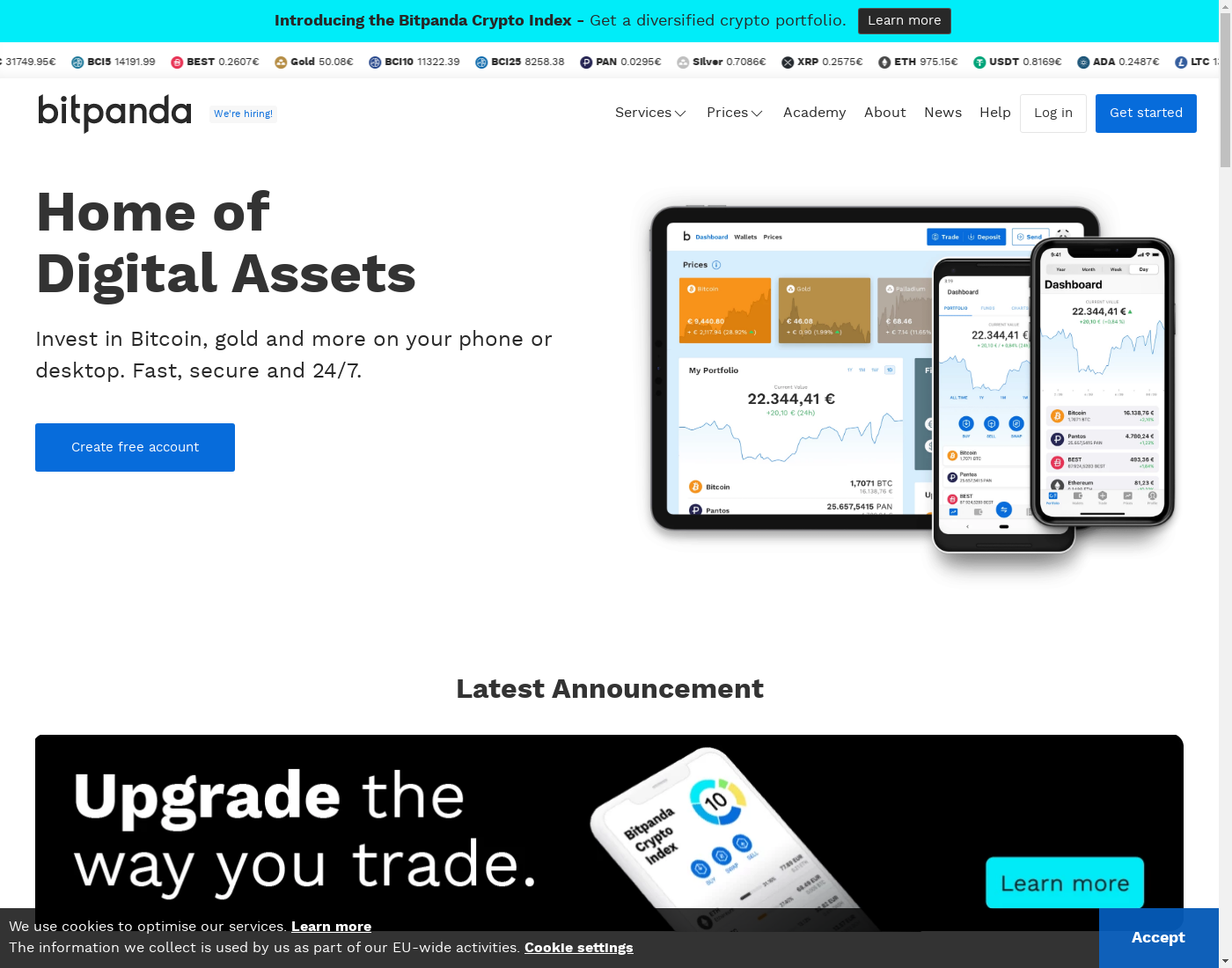 Bitpanda user interface: the home page in English