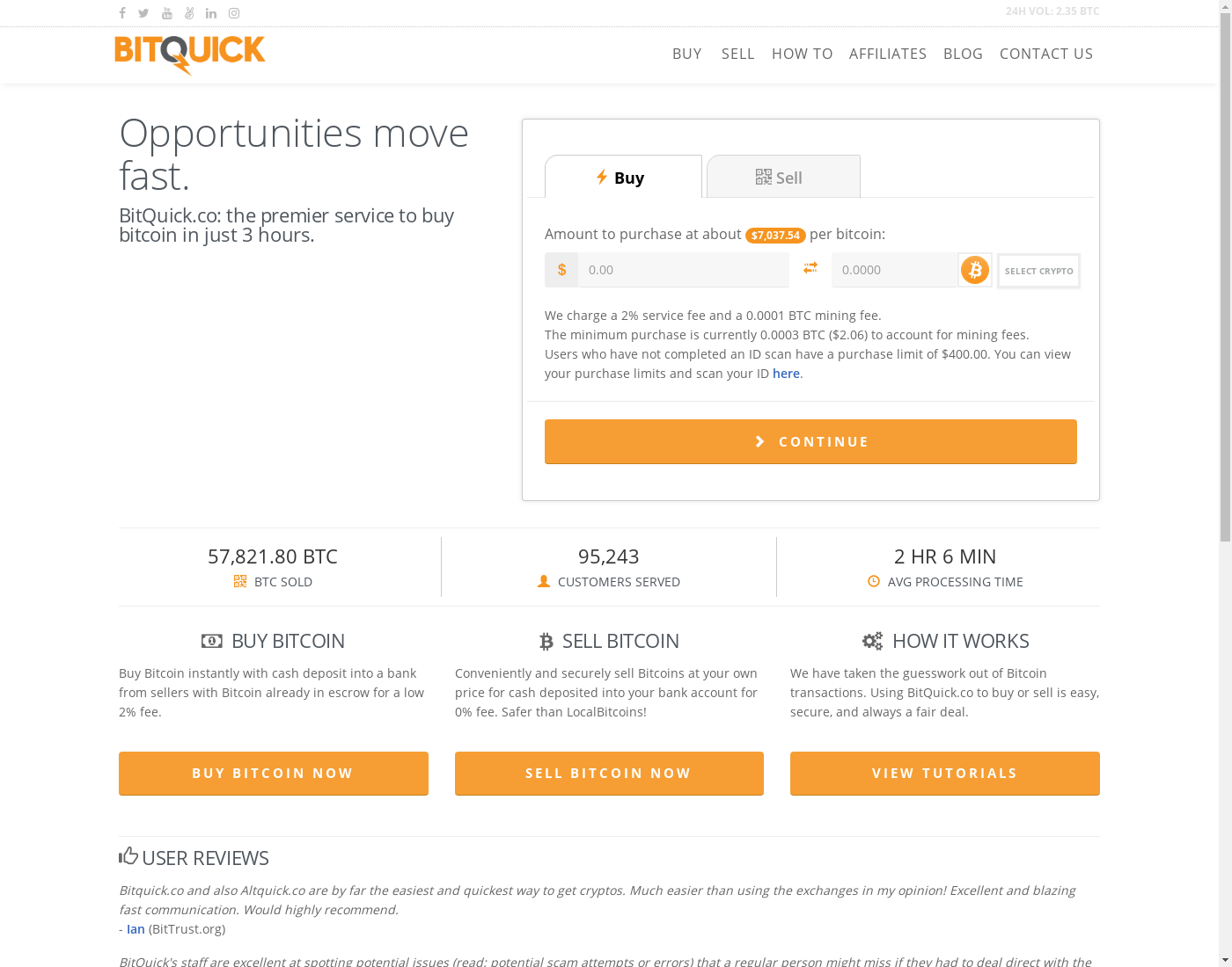 BitQuick user interface: the home page in English