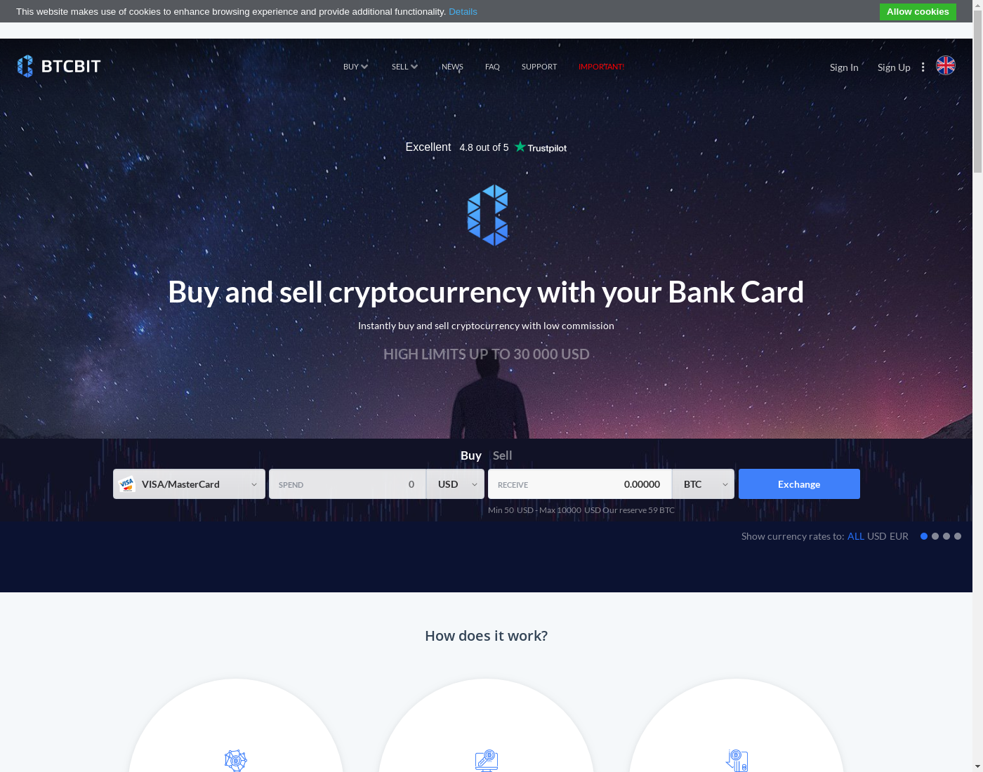 BTCBIT user interface: the home page in English