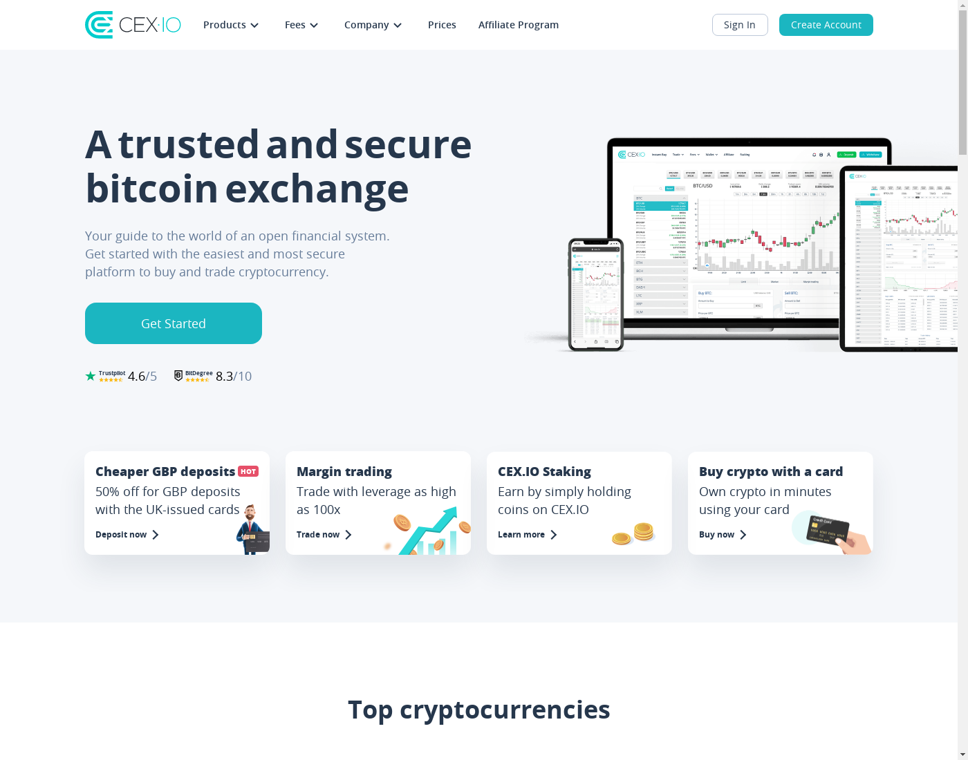 CEX user interface: the home page in English