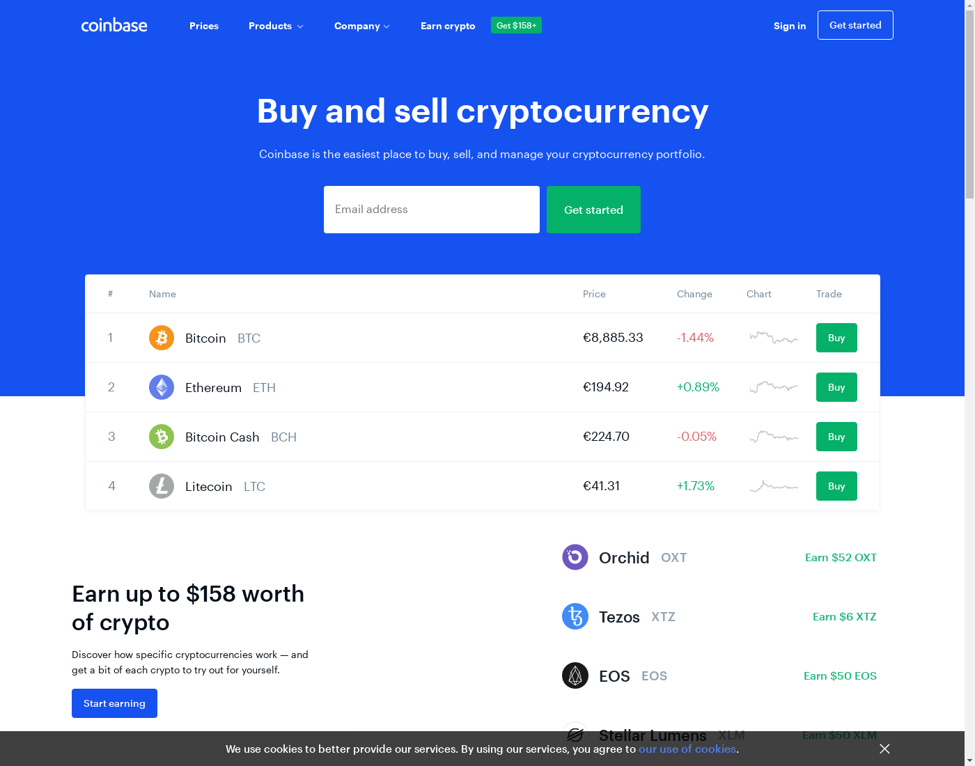 Coinbase user interface: the home page in English