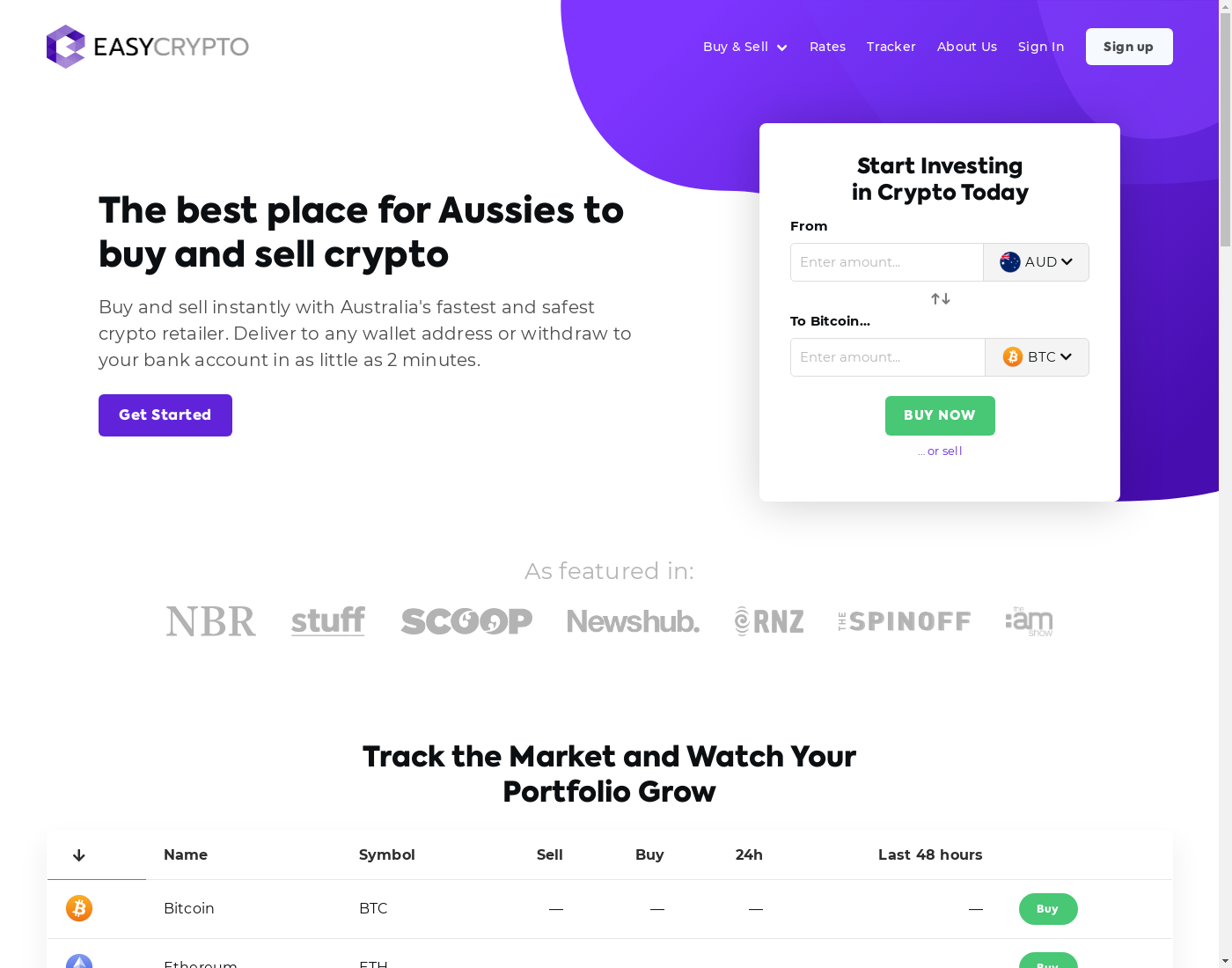 EasyCryptoAU user interface: the home page in English