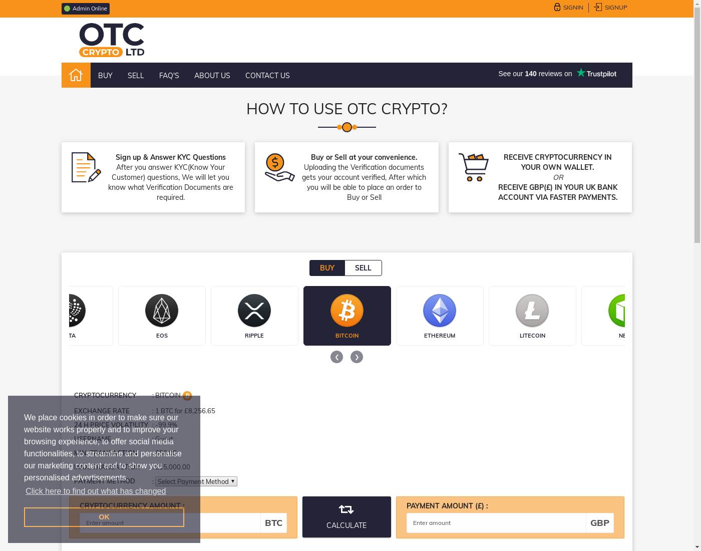 OTCcrypto user interface: the home page in English