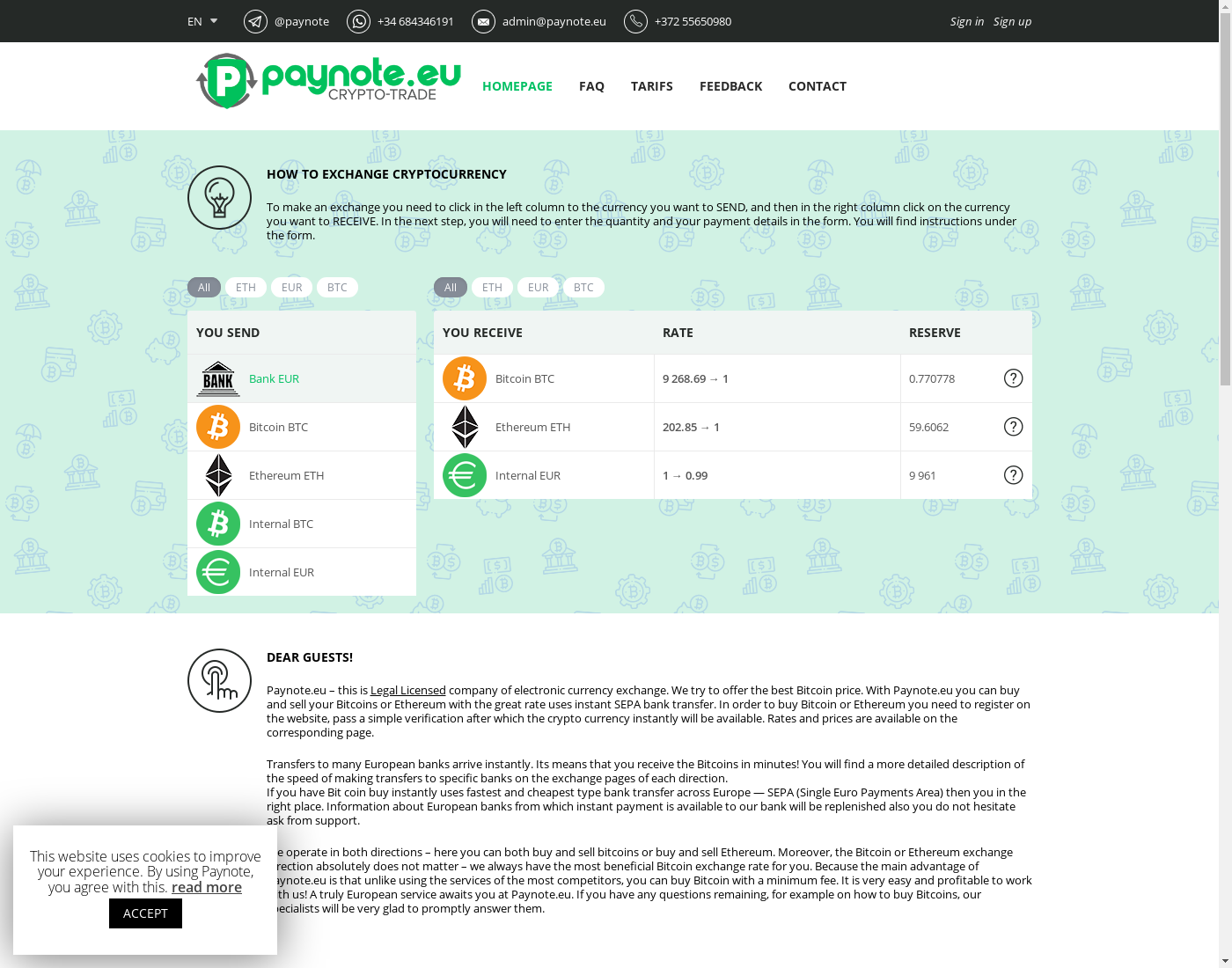 Paynote user interface: the home page in English