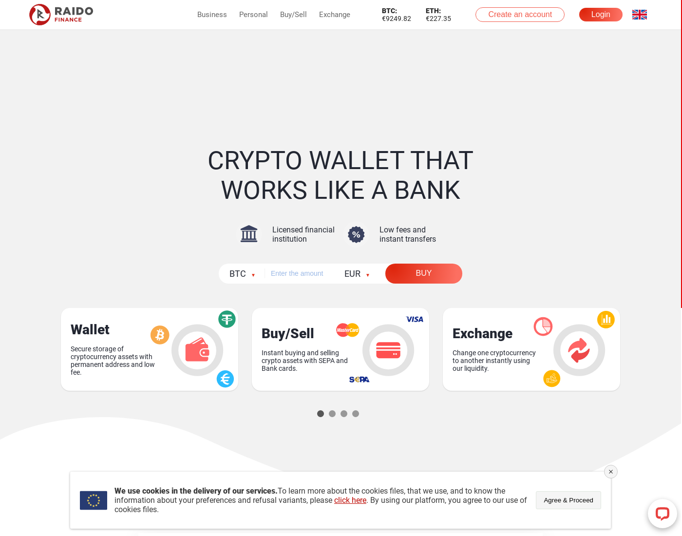 Raidofinance user interface: the home page in English