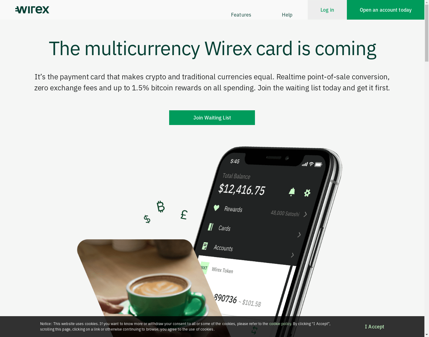Wirex user interface: the home page in English