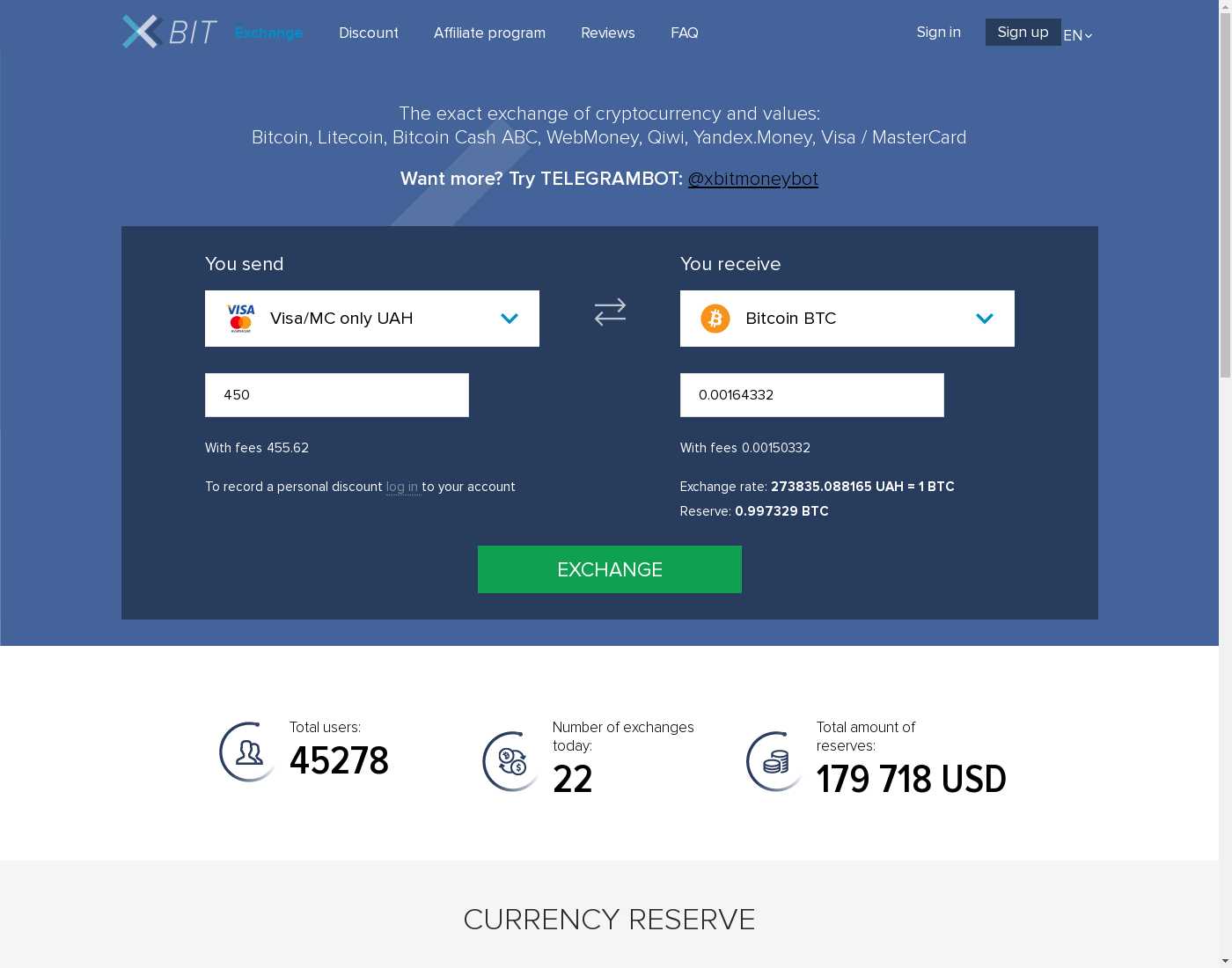 XBit user interface: the home page in English