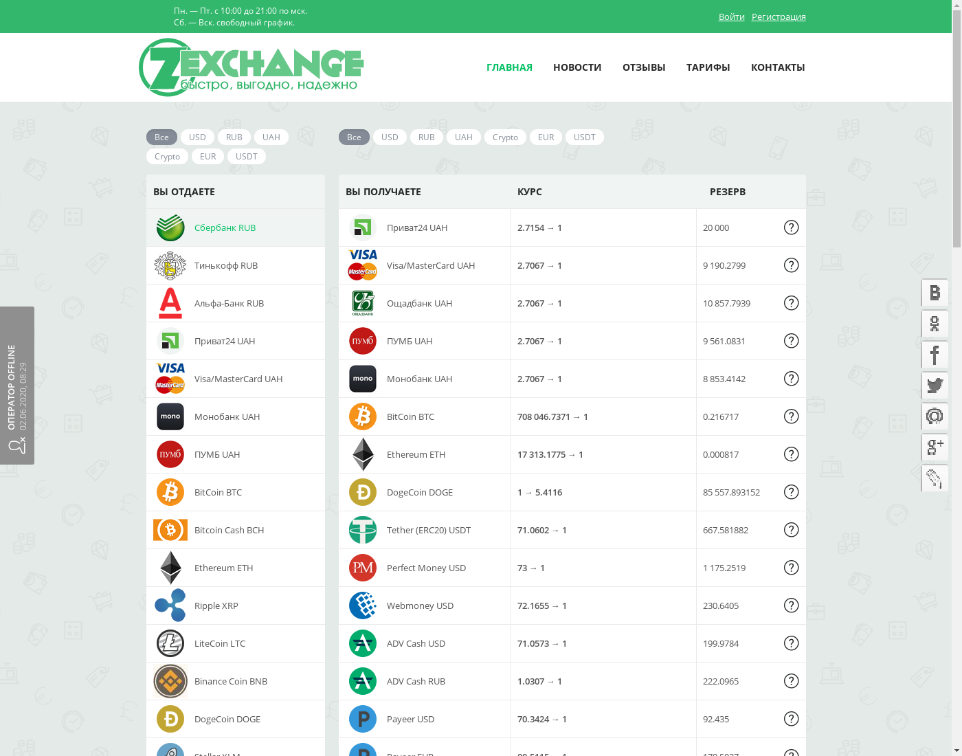 Z-exchange user interface: the home page in English